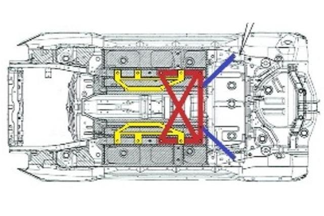 装着イメージ: センターフロアブレスは黄色の部分です ※赤色部はリヤフロアブレス ※青色部はビームマウントブレス